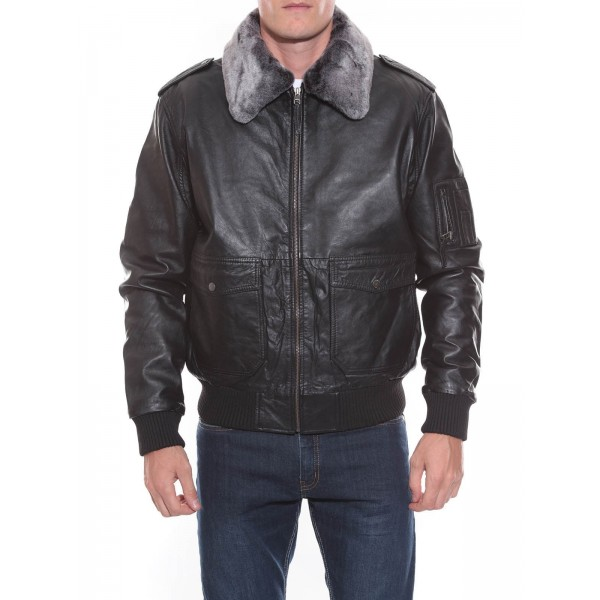 BLOUSON CUIR BOYINGTON BLACK