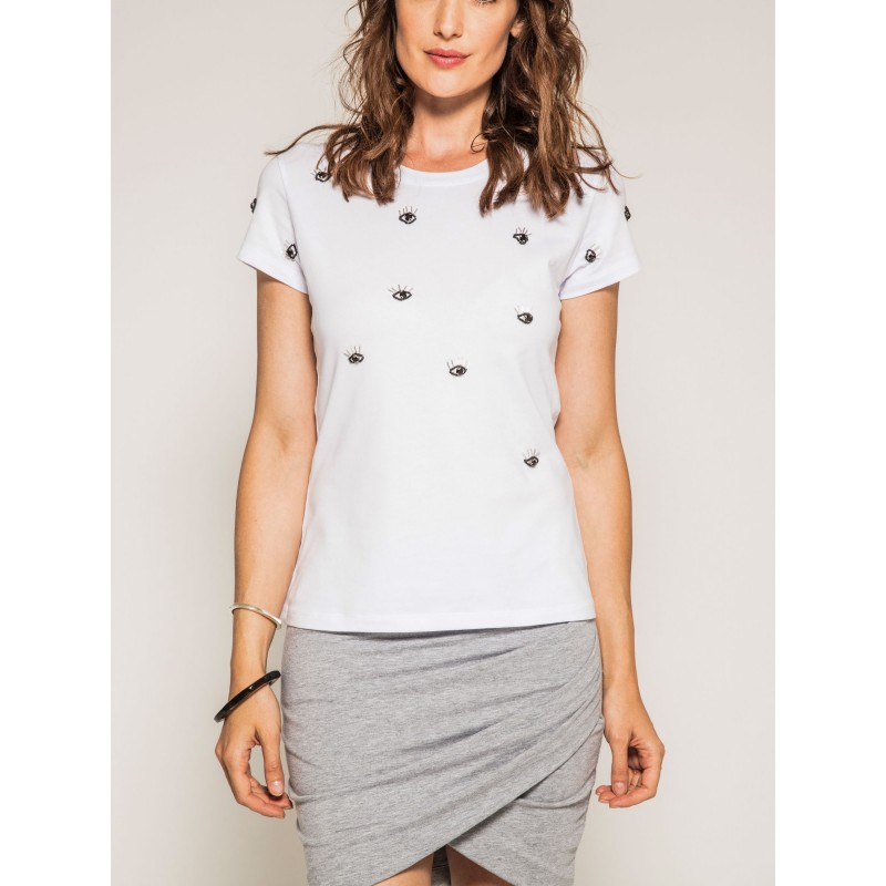 T-shirt col rond manches courtes motif FRENCH