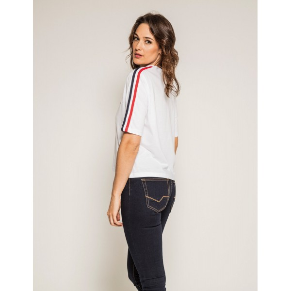 T-shirt col rond manches courtes message cropped FAUSTINE