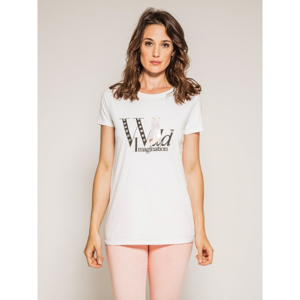 T-shirt col rond manches courtes message FORTY