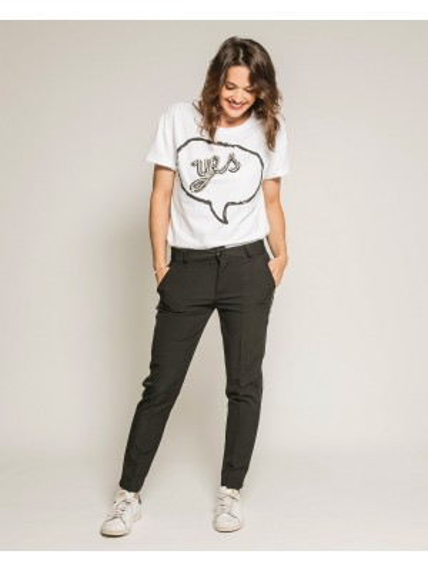 T-shirt col rond manches courtes message FLEUR