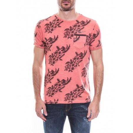 T-shirt col rond manches courtes pur coton motif fleuri KJ MANOU