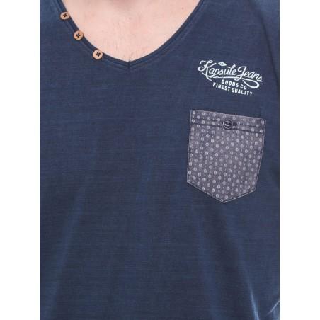T-shirt col V manches courtes pur coton KJ MOSCOW