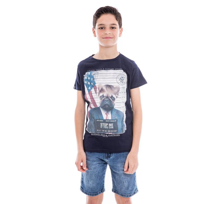 T-shirt col rond pur coton NODJO BOY