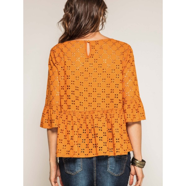 Blouse col rond broderies anglaises ONIADE