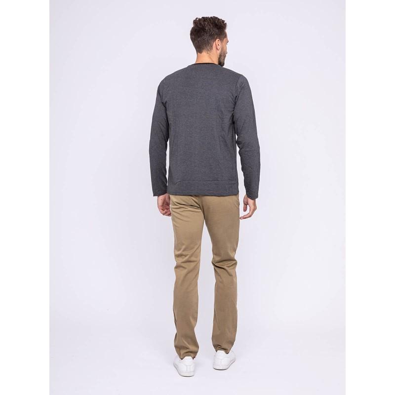 T-shirt manches longues col rond pur coton JILATIX