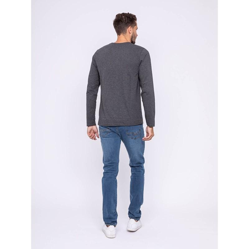 T-shirt manches longues col rond pur coton JAXEL