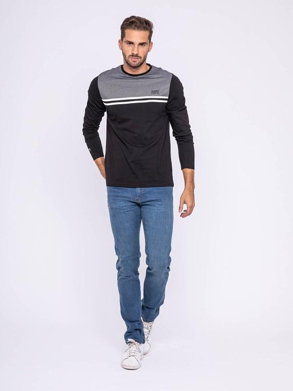 T-shirt manches longues col rond pur coton JECKO