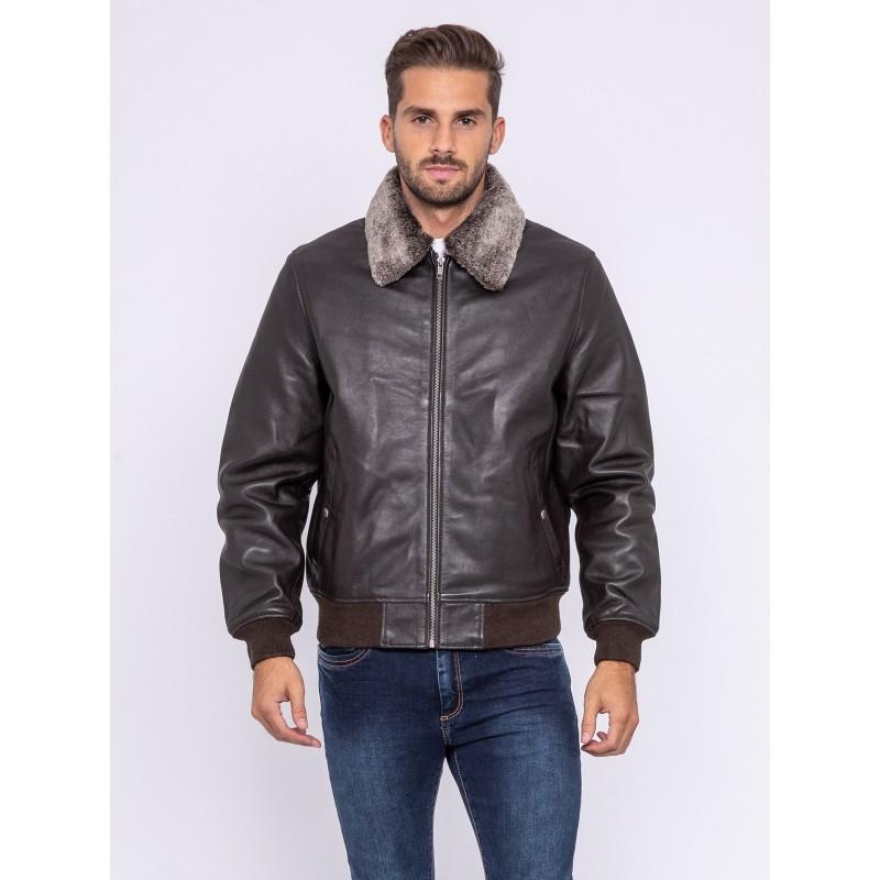 veste homme en cuir d'agneau zippée à col chemise et amovible
