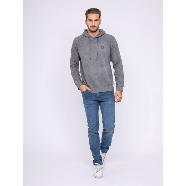 T-shirt manches longues capuche pur coton JEZOUIN