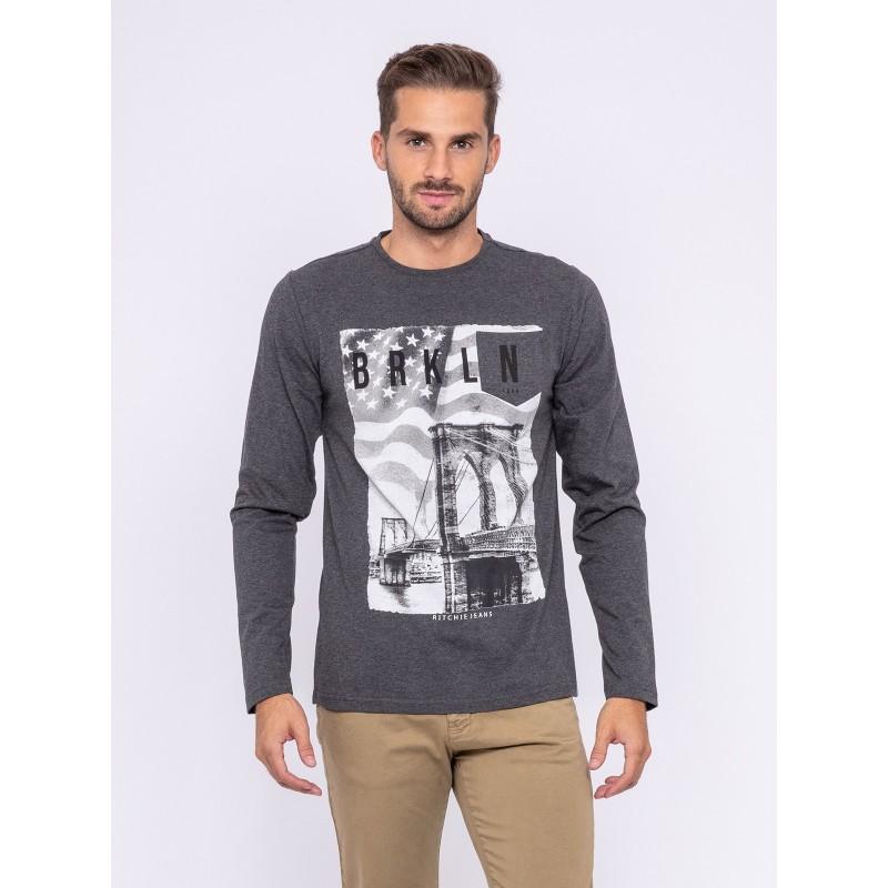 T-shirt manches longues col rond pur coton JURTON