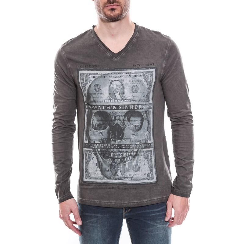 T-shirt col V manches longues pur coton KJ JONAEL