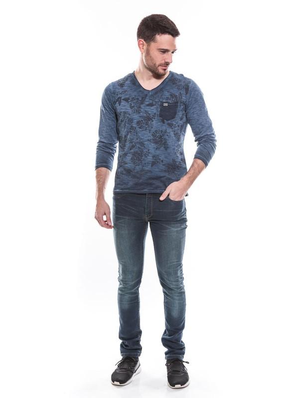 T-shirt col V manches longues pur coton motif floral KJ JANO
