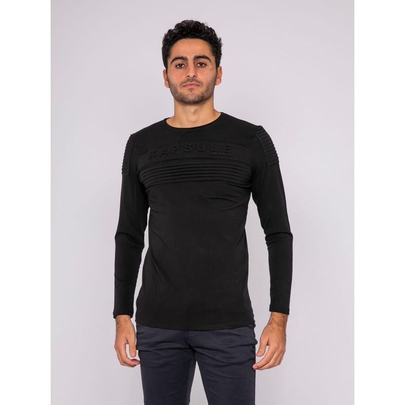 T-shirt manches longues col rond pur coton KJ-JAMES