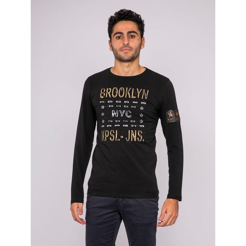 T-shirt manches longues col rond pur coton KJ-JULIO