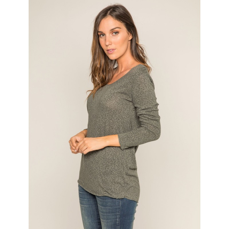 Pull fin col rond motifs KIMBA