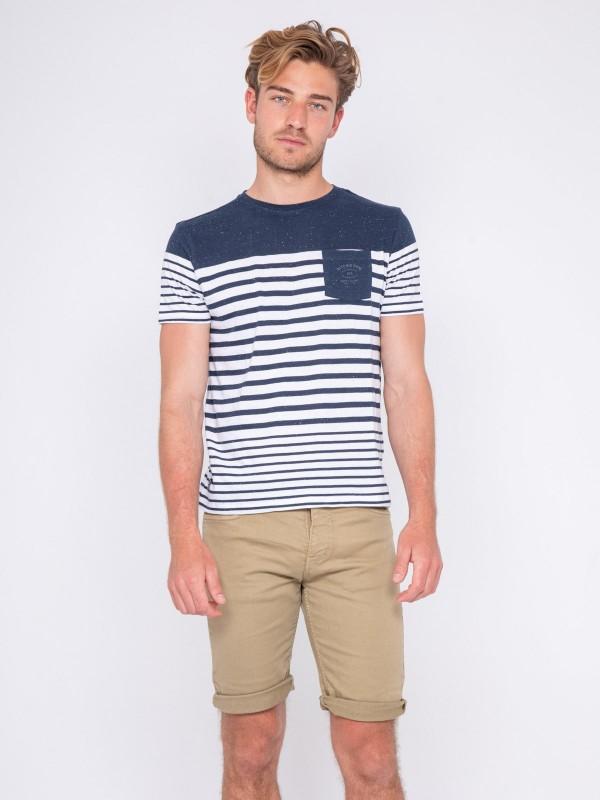 T-shirt col rond pur coton rayé NACHOS