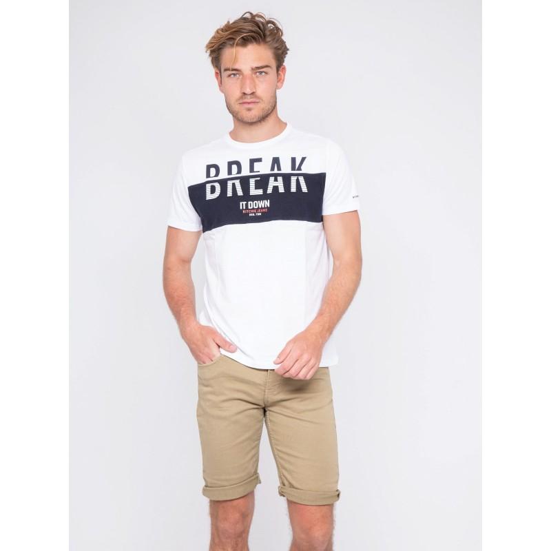 T-shirt col rond pur coton motis relief NOLIBERT