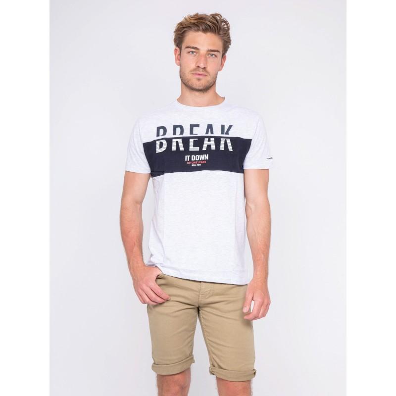 T-shirt col rond pur coton motifs relief NOLIBERT