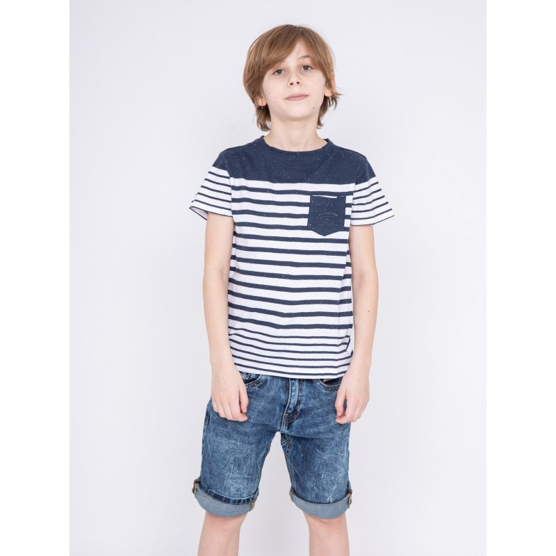 T-shirt col rond pur coton rayé NACHOS-J