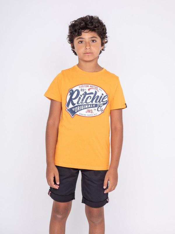 T-shirt col rond pur coton NEVERLAND-J