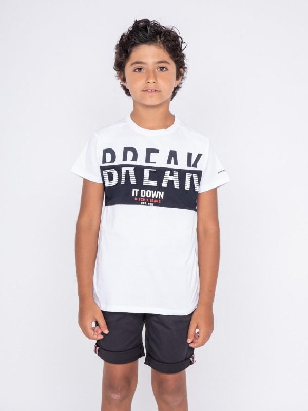 T-shirt col rond pur coton motifs relief NOLIBERT-J