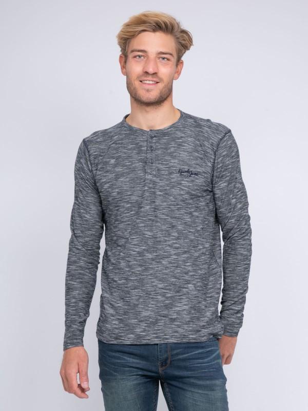 T-shirt col tunisien manches longues pur coton KJ JADOK