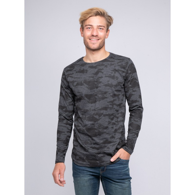 T-shirt col rond manches longues pur coton motif camouflage KJ JINGLE