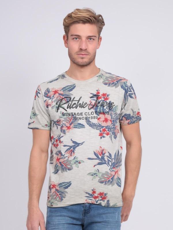 T-shirt col rond pur coton motifs NALKO