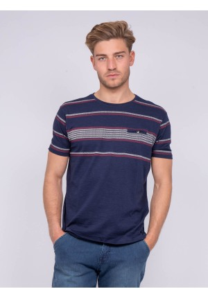 T-shirt col rond pur coton rayures NUCABI