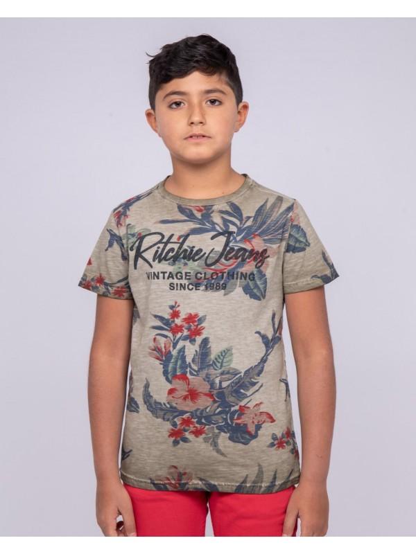 T-shirt col rond pur coton motifs NALKO-J