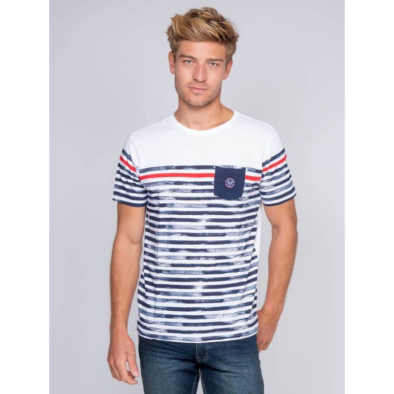 T-shirt col rond pur coton rayures NELFAST