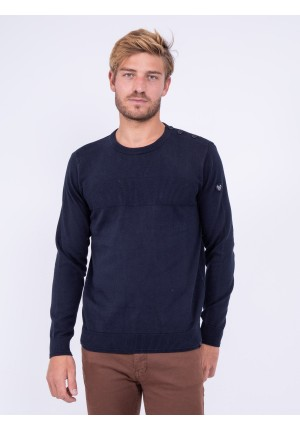 Pull col rond pur coton LION